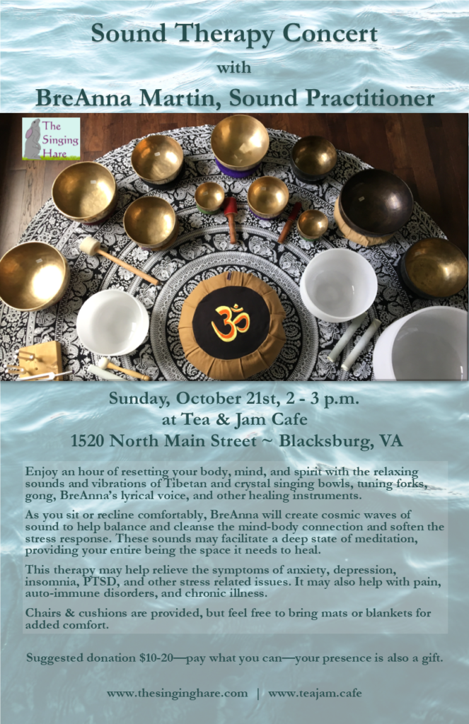 Sound Therapy Concerts at Tea Jam Cafe 2018 flyer small
